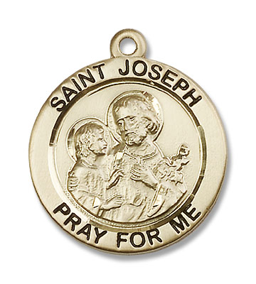 Men's Pray for Me St. Joseph Necklace - 14K Solid Gold