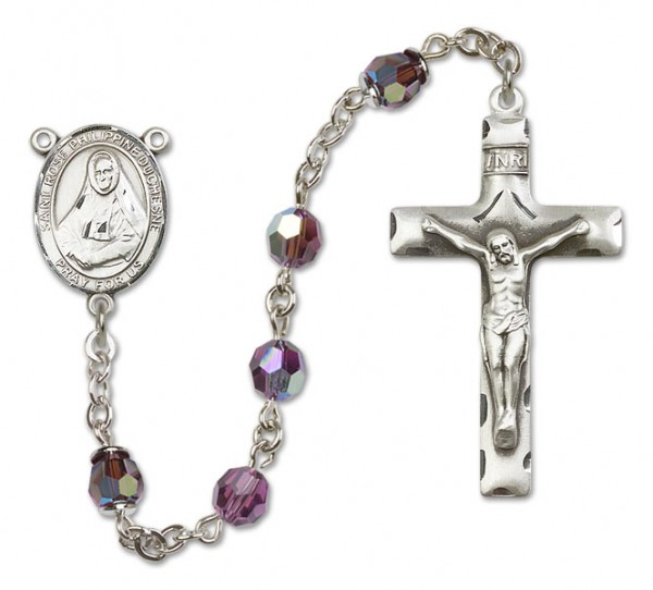 St. Rose Philippine Sterling Silver Heirloom Rosary Squared Crucifix - Amethyst