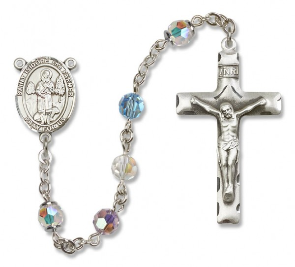 St. Isidore the Farmer Sterling Silver Heirloom Rosary Squared Crucifix - Multi-Color