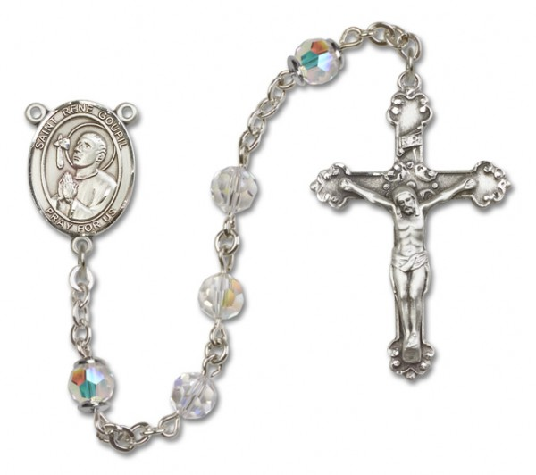 St. Rene Goupil Sterling Silver Heirloom Rosary Fancy Crucifix - Crystal