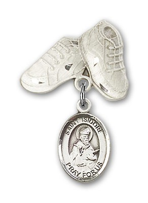 Pin Badge with St. Isidore of Seville Charm and Baby Boots Pin - Silver tone
