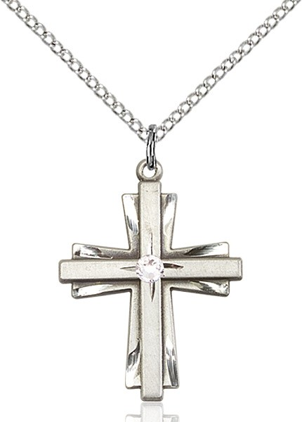 Women's Cross on Cross Pendant with Birthstone Options - Crystal