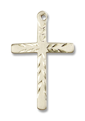 Women's Contemporary Etched Cross Necklace - 14K Solid Gold