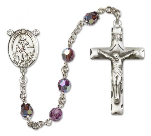 St. Giles Sterling Silver Heirloom Rosary Squared Crucifix - Amethyst