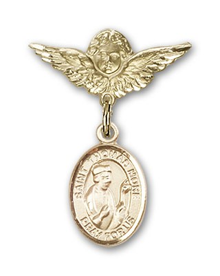 Pin Badge with St. Thomas More Charm and Angel with Smaller Wings Badge Pin - 14K Yellow Gold