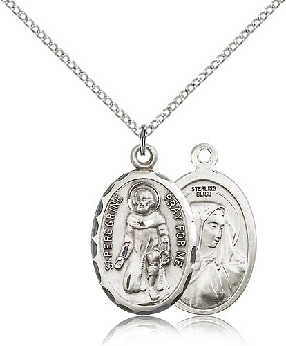 St. Peregrine Oval Shaped Medal - Sterling Silver
