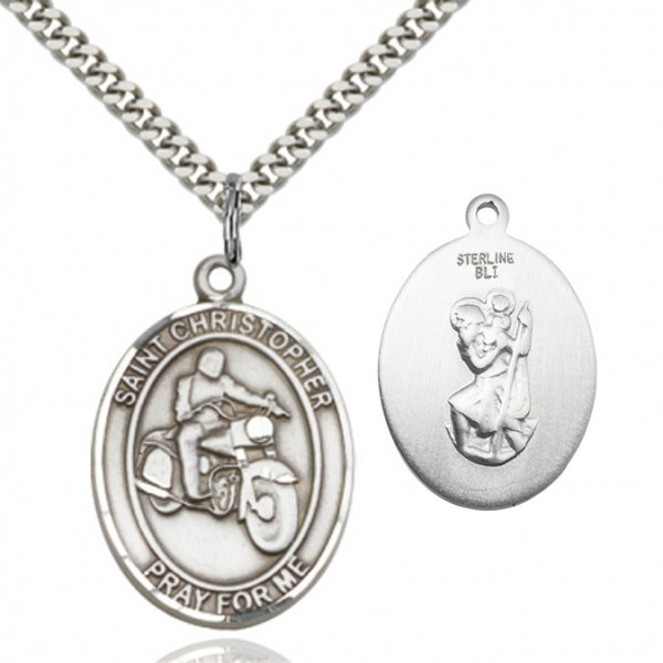 St. Christopher Motorcycle Medal - Sterling Silver