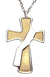 Deacon's Cross with Silver Colored Sash Pendant - Two-Tone