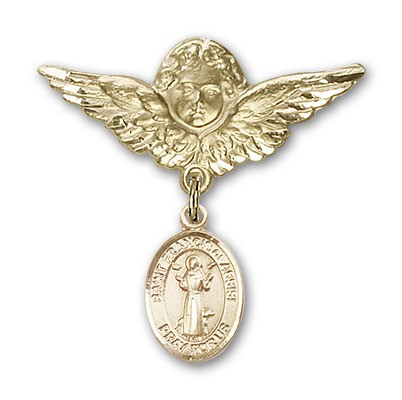 Pin Badge with St. Francis of Assisi Charm and Angel with Larger Wings Badge Pin - 14K Solid Gold