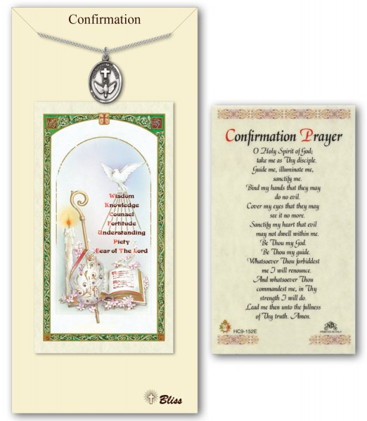 Confirmation Medal in Pewter with Prayer Card - Silver tone