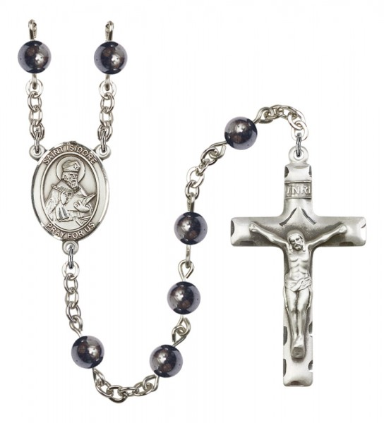 Men's St. Isidore of Seville Silver Plated Rosary - Gray