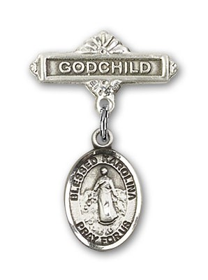 Pin Badge with Blessed Karolina Kozkowna Charm and Godchild Badge Pin - Silver tone