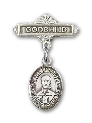 Pin Badge with Blessed Pier Giorgio Frassati Charm and Godchild Badge Pin - Silver tone