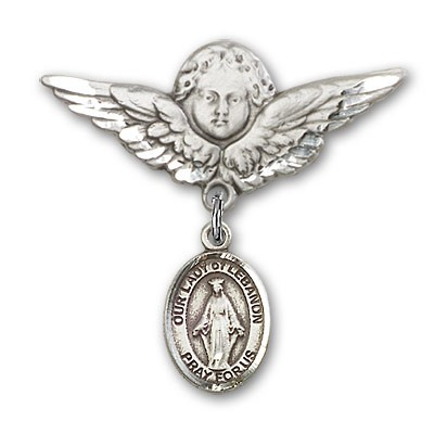 Pin Badge with Our Lady of Lebanon Charm and Angel with Larger Wings Badge Pin - Silver tone