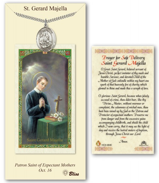 St. Gerard Majella Medal in Pewter with Prayer Card - Silver tone