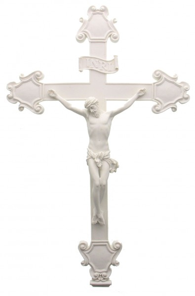 Crucifix in White Resin - 16 inches - White