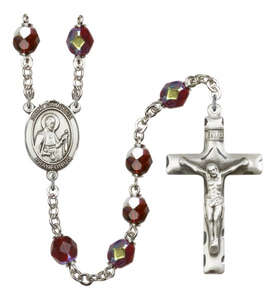 Men's St. Camillus of Lellis Silver Plated Rosary - Garnet