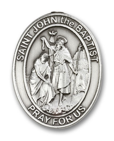 St. John the Baptist Visor Clip - Antique Silver