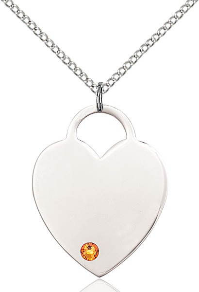 Large Women's Heart Pendant with Birthstone Options - Topaz