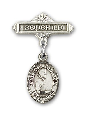 Pin Badge with St. Pio of Pietrelcina Charm and Godchild Badge Pin - Silver tone