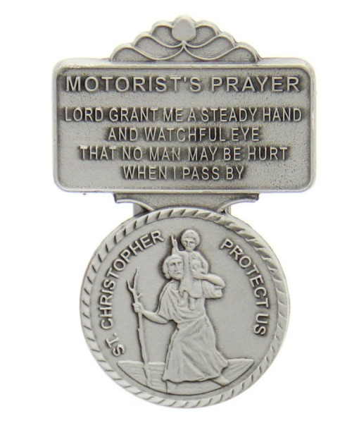 "St. Christopher Motorist's Prayer Visor Clip, Pewter - 2 1/4""H - Silver"