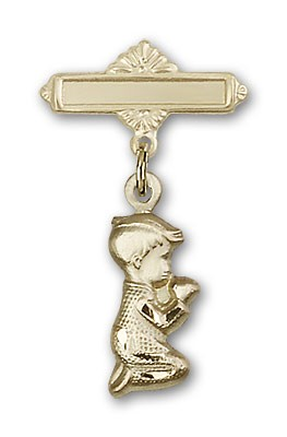 Baby Pin with Praying Boy Charm and Polished Engravable Badge Pin - 14K Solid Gold