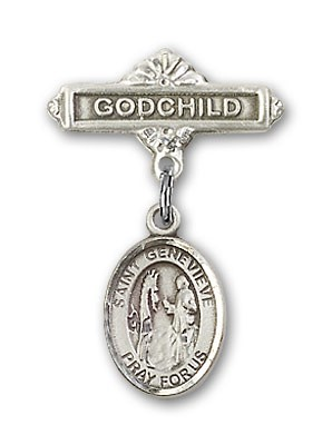 Pin Badge with St. Genevieve Charm and Godchild Badge Pin - Silver tone