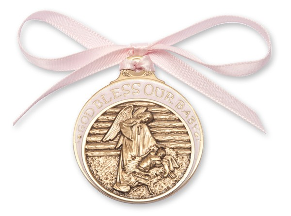Girl's Pink Ribbon Angel in Manger Crib Medal in Brass - Pink | Gold
