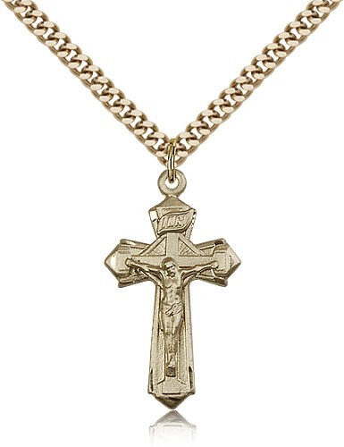 Point Tip Geometric Crucifix Pendant - 14KT Gold Filled