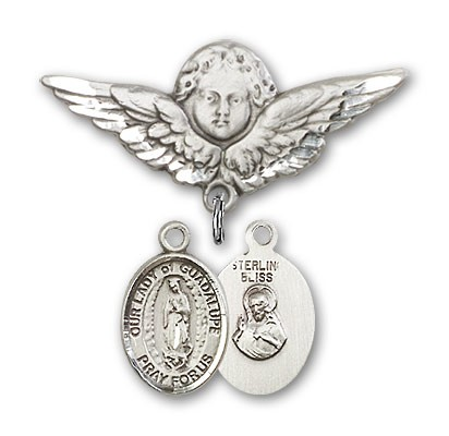 Pin Badge with Our Lady of Guadalupe Charm and Angel with Larger Wings Badge Pin - Silver tone