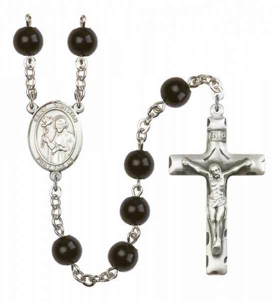Men's St. Dunstan Silver Plated Rosary - Black
