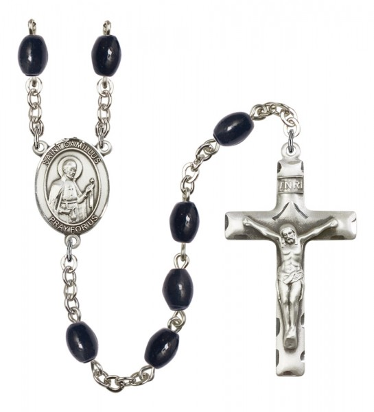 Men's St. Camillus of Lellis Silver Plated Rosary - Black Oval