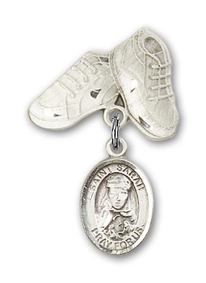 Pin Badge with St. Sarah Charm and Baby Boots Pin - Silver tone