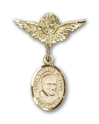 Pin Badge with St. Vincent de Paul Charm and Angel with Smaller Wings Badge Pin - 14K Yellow Gold