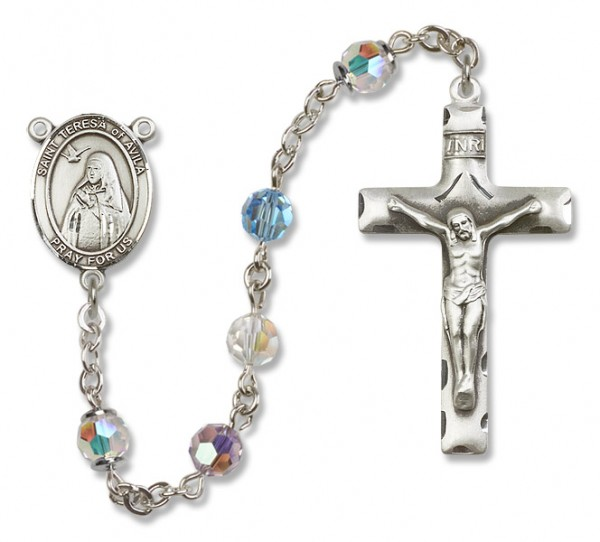 St. Teresa of Avila Sterling Silver Heirloom Rosary Squared Crucifix - Multi-Color