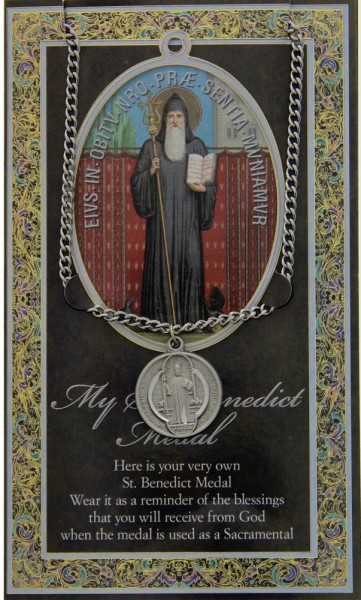 St. Benedict Medal in Pewter with Bi-Fold Prayer Card - Silver tone