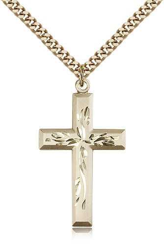 Hand Etched Cross Necklace - 14KT Gold Filled