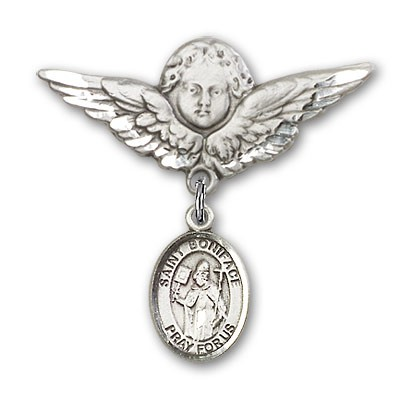 Pin Badge with St. Boniface Charm and Angel with Larger Wings Badge Pin - Silver tone