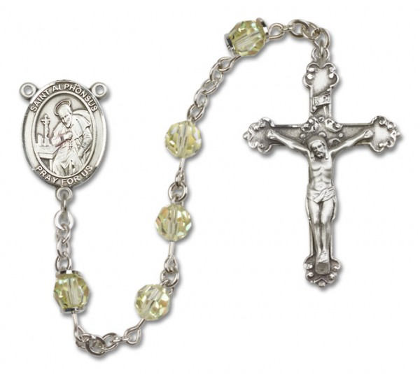 St. Alphonsus Sterling Silver Heirloom Rosary Fancy Crucifix - Jonquil