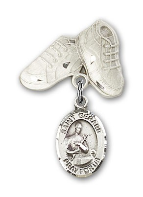 Pin Badge with St. Gerard Charm and Baby Boots Pin - Silver tone
