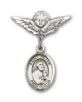 Pin Badge with St. Peter the Apostle Charm and Angel with Smaller Wings Badge Pin - Silver tone