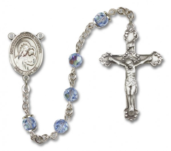 Our Lady of Good Counsel Sterling Silver Heirloom Rosary Fancy Crucifix - Light Amethyst