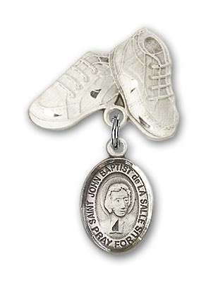 Pin Badge with St. John Baptist de la Salle Charm and Baby Boots Pin - Silver tone