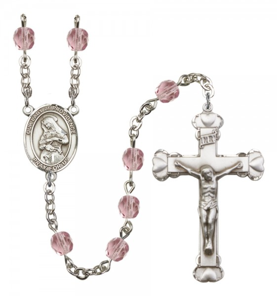 Women's Our Lady of Providence Birthstone Rosary - Light Amethyst