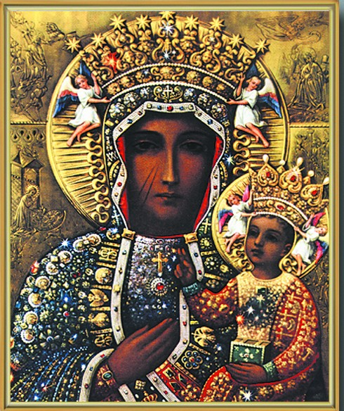 Our Lady of Czestochowa Gold Framed Print - Full Color
