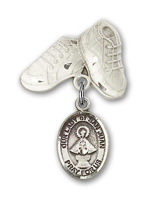 Baby Badge with Our Lady of San Juan Charm and Baby Boots Pin - Silver tone