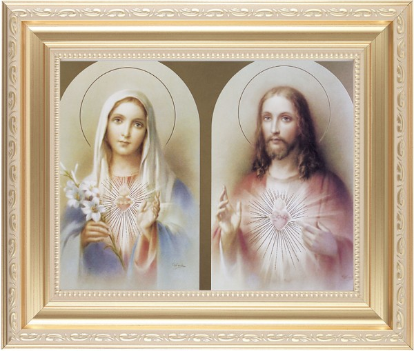 Immaculate Heart of Mary and Sacred Heart of Jesus Framed Print - #138 Frame