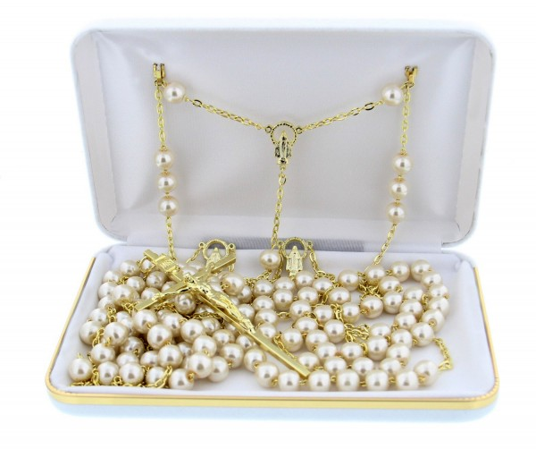 Pearl Lasso Wedding Rosary - With Deluxe Box