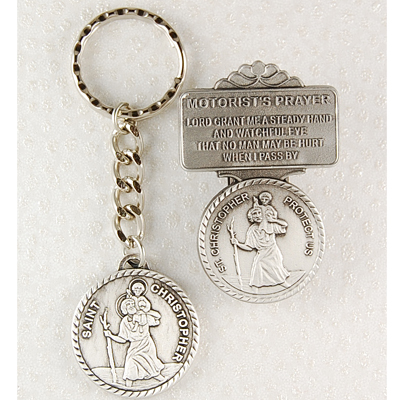 St. Christopher Matching Key Ring and Visor Clip Set - Silver
