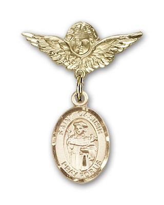 Pin Badge with St. Casimir of Poland Charm and Angel with Smaller Wings Badge Pin - 14K Yellow Gold
